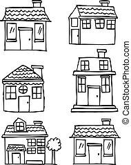 Vector art of house set hand draw