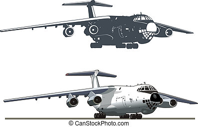 Vector art of jet cargo airplane