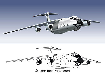 jet cargo airplane - Vector art of jet cargo airplane....