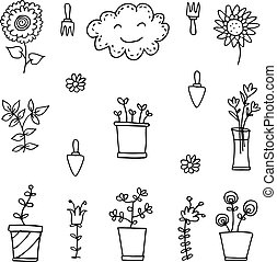 vector art of spring doodle set