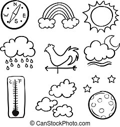 Vector art of weather doodle set