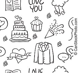 Vector art of weding doodles style collection