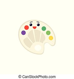 Vector art palette with paints and brush icon