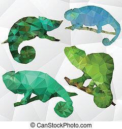 Vector art polygonal illustration chameleon