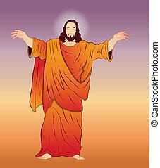 vector, arte, de, jesucristo