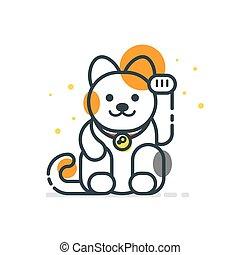 vector, arte de línea, estilo, ilustración, de, japonés, gato afortunado, maneki, neko.