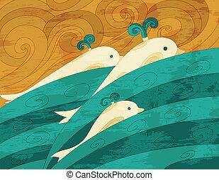 vector, arte, delfines