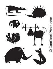 vector, arte, original, animal, silhouet