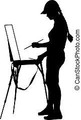 vector, artista, illustr, trabajo, silueta, plano de fondo, blanco