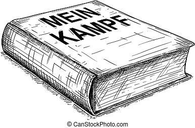 Vector Artistic Drawing Illustration of Book of Adolf Hitler - Mein Kampf