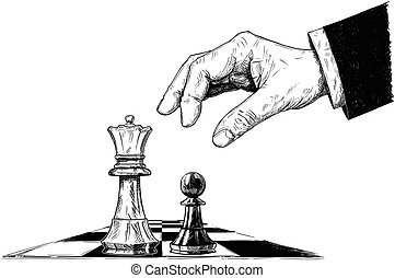 Vector Artistic Drawing Illustration of Chess King and Pawn Facing Each Other