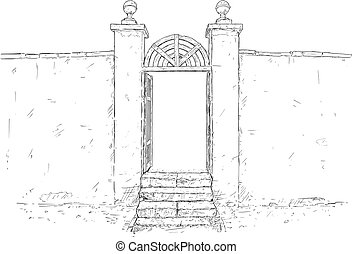 Vector Artistic Drawing Illustration of Decorated Garden...