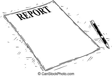 Vector Artistic Drawing Illustration of Empty Report Document