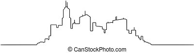 Vector Artistic Drawing Illustration of Generic City High...