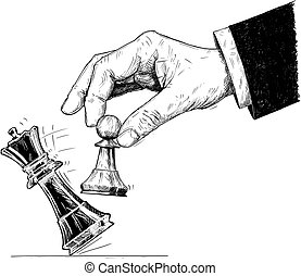 Vector Artistic Drawing Illustration of Hand Holding Chess...