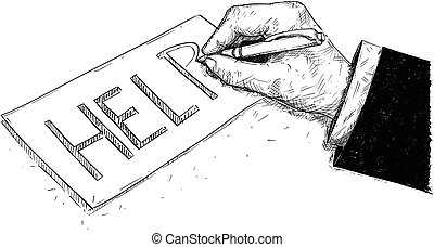 Vector Artistic Drawing Illustration of Hand of Businessman Writing Help on Paper