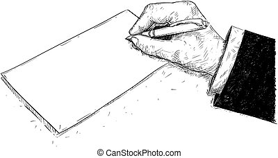 Vector Artistic Drawing Illustration of Hand of Businessman Writing on Paper