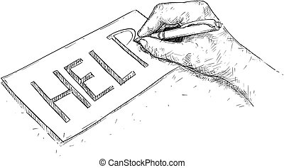 Vector Artistic Drawing Illustration of Hand Writing Help on Paper