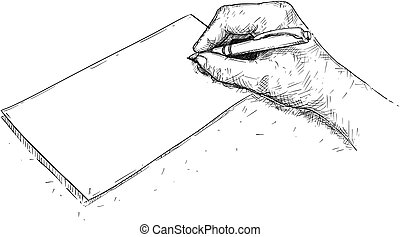 Vector Artistic Drawing Illustration of Hand Writing on Paper