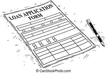 Vector Artistic Drawing Illustration of Loan Application Form