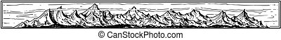 Vector Artistic Drawing Illustration of Mountain Landscape