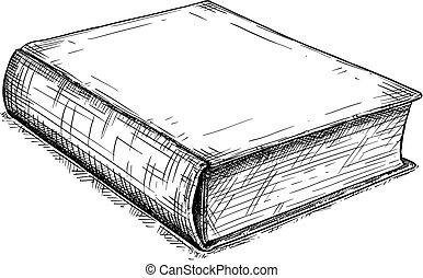 Vector Artistic Drawing Illustration of Old Closed Book