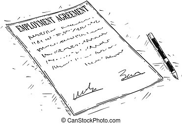 Vector Artistic Drawing Illustration of Pen and Employment Agreement Document to Sign