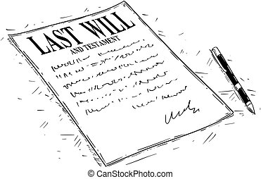Vector artistic ink drawing illustration of pen and last will and testament document to sign.