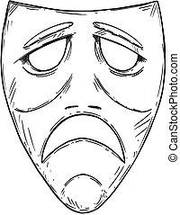 Vector Artistic Drawing Illustration of Sad Comedy Mask