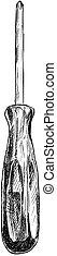 Vector Artistic Drawing Illustration of Screwdriver
