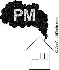Vector Artistic Drawing Illustration of Smoke Coming from House Chimney, Particulate Matter or PM Air Pollution Concept