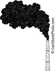 Vector Artistic Drawing Illustration of Smokestack, Industry or Factory Air Pollution