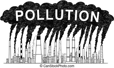 Vector Artistic Drawing Illustration of Smoking Smokestacks, Concept of Industry or Factory Air Pollution