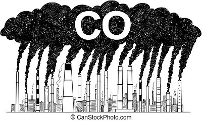 Vector Artistic Drawing Illustration of Smoking Smokestacks, Concept of Industry or Factory CO Air Pollution