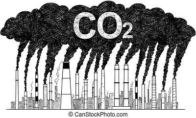 Vector Artistic Drawing Illustration of Smoking Smokestacks, Concept of Industry or Factory CO2 Air Pollution