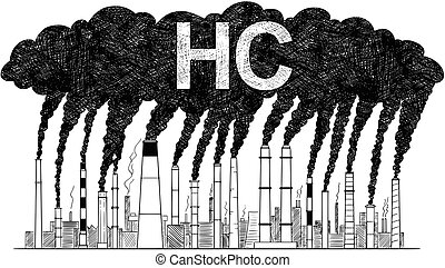 Vector Artistic Drawing Illustration of Smoking Smokestacks, Concept of Industry or Factory HC Air Pollution