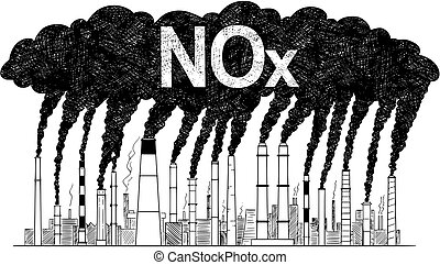 Vector Artistic Drawing Illustration of Smoking Smokestacks, Concept of Industry or Factory NOx Air Pollution