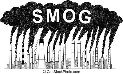 Vector Artistic Drawing Illustration of Smoking Smokestacks, Concept of Smog or Air Pollution Produced by Industry or Factory
