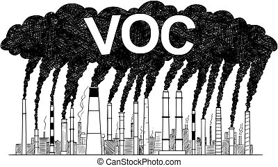 Vector artistic pen and ink drawing illustration of smoke coming from industry or factory smokestacks or chimneys into air. Environmental concept of air pollution and VOC or volatile organic compound production.