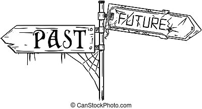 Vector Artistic Drawing Illustration of Traffic Arrow Sign With Past and Future Text