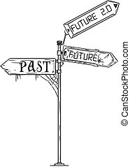 Vector Artistic Drawing Illustration of Traffic Arrow Sign With Past, Future and Future 2.0 Text