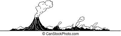 Vector Artistic Drawing Illustration of Volcano Landscape