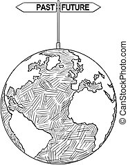 Vector Artistic Drawing Illustration of World Globe With Past and Future Decision Arrows