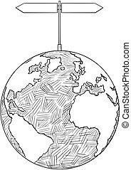 Vector Artistic Drawing Illustration of World Globe With Two Decision Arrow Signs
