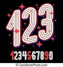 Vector artistic funky numbers, modern numerals set made with triple parallel lines. Can be used in retro poster design as karaoke party advertising.