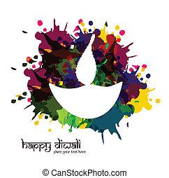 vector artistic happy diwali diya colorful for indian...