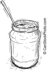 Vector Artistic Illustration or Drawing of Jam, Marmalade or Honey Jar and Spoon