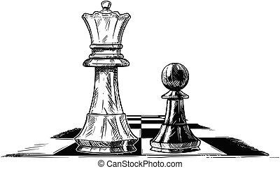vector, artistiek, tekening, illustratie, van, schaakspel, koning, en, pion, het onder ogen zien van elkaar