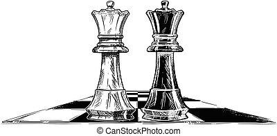 vector, artistiek, tekening, illustratie, van, twee, schaakspel, koningen, het onder ogen zien van elkaar