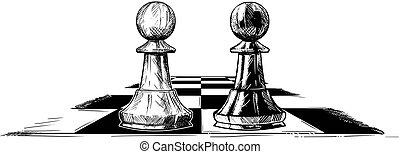 vector, artistiek, tekening, illustratie, van, twee, schaakspel, pionen, het onder ogen zien van elkaar